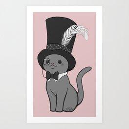 Grey Cat Wears Plumed Top Hat Art Print