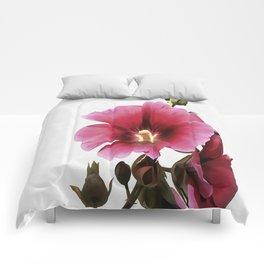 Pink Hollyhock Comforters