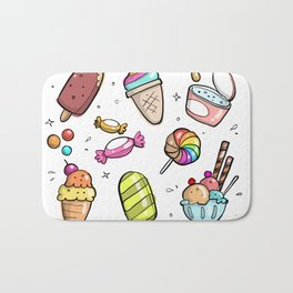 Seamless Assortment of Flying Sweets Artwork Bath Mat