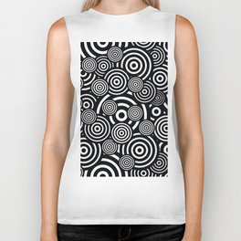 BLACK AND WHITE BULLSEYE ABSTRACT Biker Tank