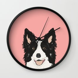 Border Collie pet portrait pink background dog lover art gifts Wall Clock