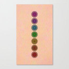 Colorful Rainbow Chakra Mandala , Yoga & Meditation Seven Sacred Mandalas Flower Painting Canvas Print