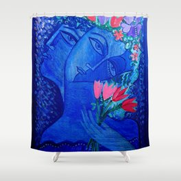 Blue Lovers Shower Curtain