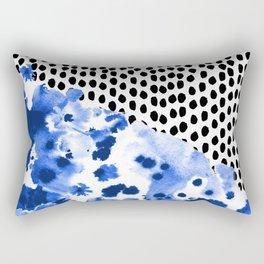 Monroe - painted abstract watercolor ink polka dots dotted indigo blue minimalism nursery Rectangular Pillow