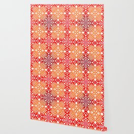 Tribal Tiles II (Red, Orange, Brown) Geometric Wallpaper