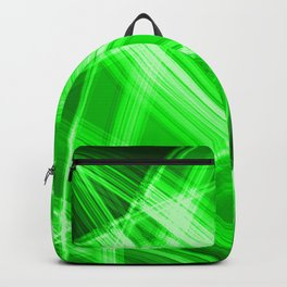 Neon strokes with green diagonal lines from intersecting bright stripes of glow. Backpack