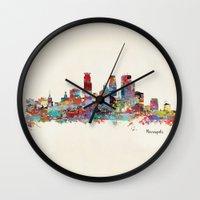 minneapolis Wall Clocks featuring Minneapolis Minnesota skyline by bri.buckley