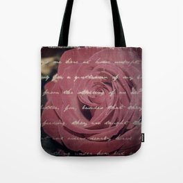 Antique Red Rose with Text Tote Bag