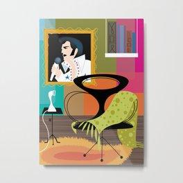 Black Velvet and a Modern Chair Metal Print