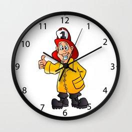 smiling fireman cartoon Wall Clock