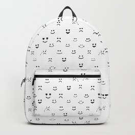 Sad face, happy face, smiley face, eyes heart face, crying face repeated pattern Backpack