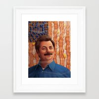 ron swanson Framed Art Prints featuring Ron Swanson by Lydia Guadagnoli