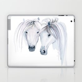 White Horses in Watercolor Laptop & iPad Skin