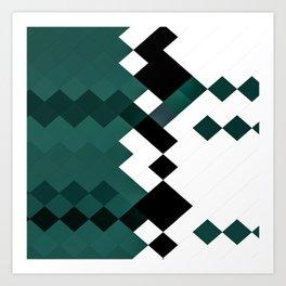 Emerald Green White Black Geometrical Pattern Art Print