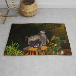 Cute little pug with flowers Rug