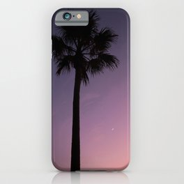 Palm tree silhouette during sunset with little moon | tropical photo print | colorful and moody iPhone Case