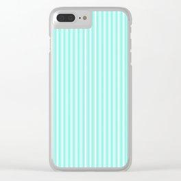 Classic Small Aqua Gift Box Pastel Aqua French Mattress Ticking Double Stripes Clear iPhone Case