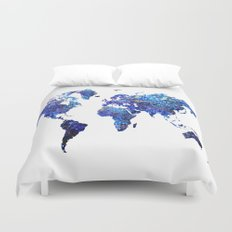World Map blue purple Duvet Cover