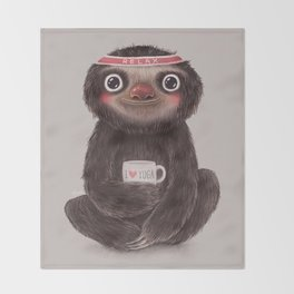 Sloth I♥yoga Throw Blanket