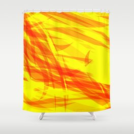 Gold and smooth sparkling lines of orange ribbons on the theme of space and abstraction. Shower Curtain