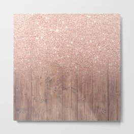 Modern faux rose gold glitter ombre brown rustic wood color block Metal Print