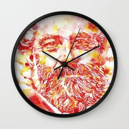 JULES VERNE - watercolor on paper Wall Clock