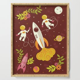 Astronauts in Space with Florals - Maroon Serving Tray
