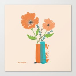 California Poppies in orange and teal vases Canvas Print