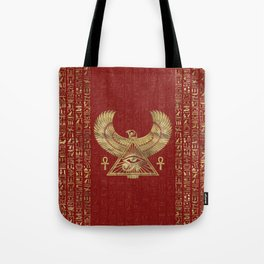 Eye of Horus - Wadjet Gold on Red Leather Tote Bag