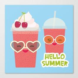 Hello Summer Kawaii cherry smoothie Canvas Print