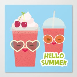 Hello Summer Kawaii cherry smoothie Canvas Print