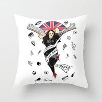 my mad fat diary Throw Pillows featuring My Mad Fat Diary Oasis Rae Pin-up by Emma Munger