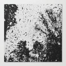 Rain water droplets on windscreen Canvas Print