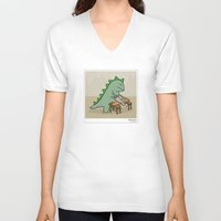 dinosaur V-neck T-shirts featuring Dinosaur by Masonic Comics