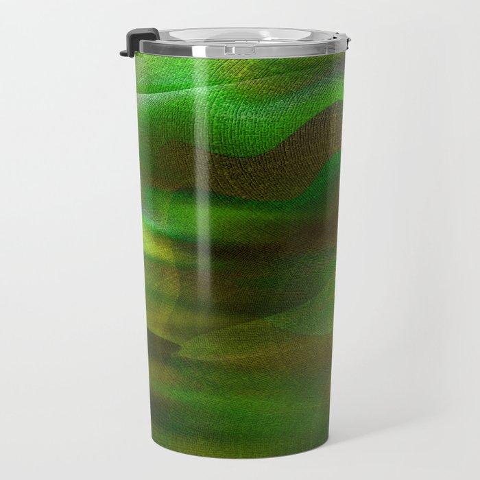 Waves of Abstraction (olive-apple-avocado green) Travel Mug