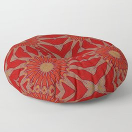 Autumn Red Pinwheel Flowers Floor Pillow