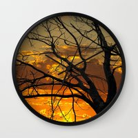 jewish Wall Clocks featuring Sunset Tree by Brown Eyed Lady