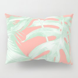 Island Love Coral Pink + Light Green Pillow Sham