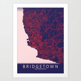 Bridgetown, Barbados, Blue, White, City, Map Art Print