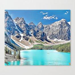 Mountain Lake Canada Airbrush Artwork Canvas Print