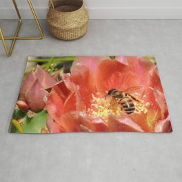 Prickly Pear Cactus Blossom with Visitor Rug