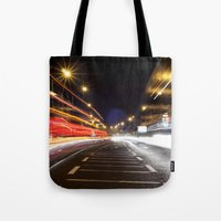dublin Tote Bags featuring Traffic, Dublin by Jennifer Hynes
