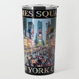 Times Square Tourists (on black) Travel Mug