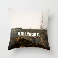hollywood Throw Pillows featuring Hollywood by Claire Jantzen