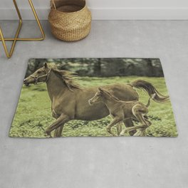 Mama And Baby Horse In The Field  Rug