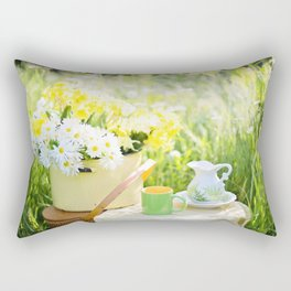 Romantic Daisy Flower Bouquet Rectangular Pillow