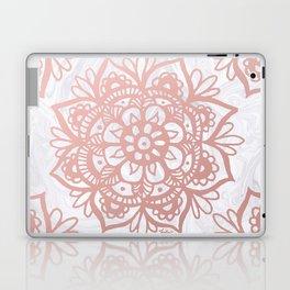 Rose Gold Mandalas on Marble Laptop & iPad Skin