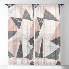 Modern black white marble rose gold glitter foil geometric abstract triangles pattern Sheer Curtain