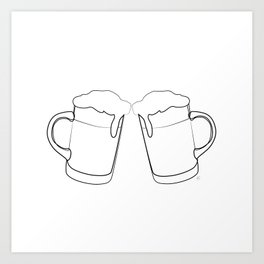 """ Kitchen Collection "" -Two Beer Mugs Art Print"