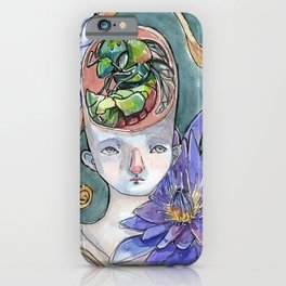 Insides - Girl with Lotus flowers and Orchid Bee iPhone Case